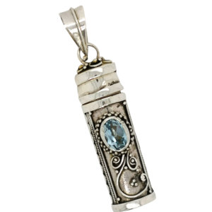 Filligree Keepsake Pendant with Blue Topaz